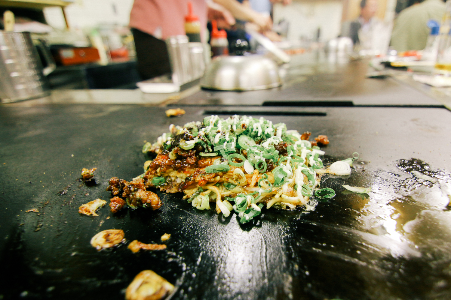 Okonomiyaki – the Japanese version of a pancake. Probably the weirdest meal I've ever had.